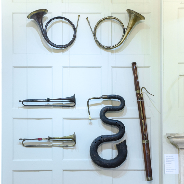 Several rare 18th-century instruments are on display at the Handel exhibition