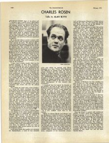 Charles Rosen talks to Alan Blyth, Gramophone February 1971