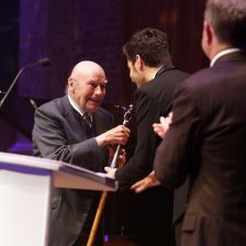 Julian Bream receives his Lifetime Achievement Award from Miloš in 2013