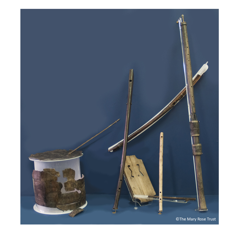 It is believed that there were at least ten musical instruments on board the Mary Rose. Those found include two fiddles, a bow, three tabor pipes, a tabor and a still shawm - thought to be one of the only surviving examples in the world