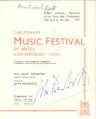 The 1947 programme, signed by Michael Tippett and John Barbirolli