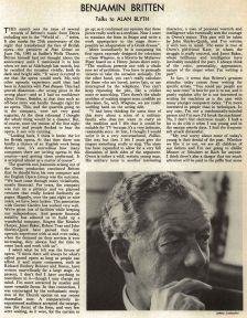 Benjamin Britten talks to Alan Blyth (Gramophone, June 1970)
