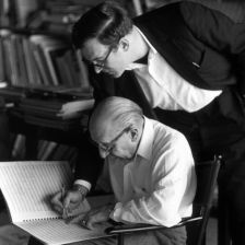 Robert Craft with Igor Stravinsky and the score of The Flood in 1962 (Photo: Getty Images)