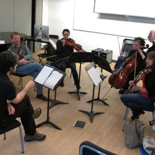Composer John Lely rehearses with the Bozzinis (photo: Kate Molleson)